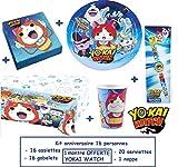 Magnifico kit per festa di compleanno Yokai Watch per 16 persone + REGALI 1 Guarda l'orologio Yo-kai Watch .Il kit si compone di: 16 piatti 18 cm + 16 bicchieri in 20 cl + 20 tovaglioli di carta 30 x 30 cm + 1 tovaglia 120x180cm + REGALI 1 Gu...