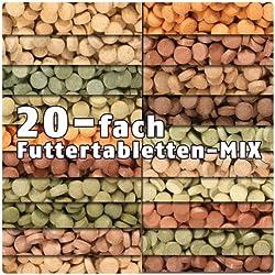 AQUALITY PREMIUM Futtertabletten-MIX '20 Sorten' 1.000 ml (Eine täglich ausgewogene Mischung von 20 verschiedenen Futtertablettensorten für Ihre Aquarium-Fische. Leckeres Fischfutter in Premium-Qualität)