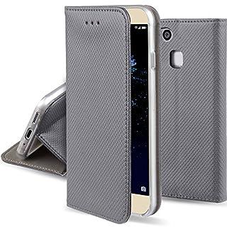 Moozy Hülle Flip Case für Huawei P10 Lite, Grau - Dünne magnetische Klapphülle Handyhülle mit Standfunktion