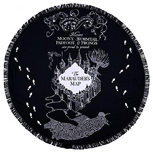 Warner Bros. Harry Potter Rund Strandtuch, The Marauder 's Map Design Schwarz (Harry Potter-warner Brothers)