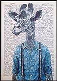 Giraffe Print Vintage Wörterbuch Seite Art Wand Bild Hipster Animal Hosenträger