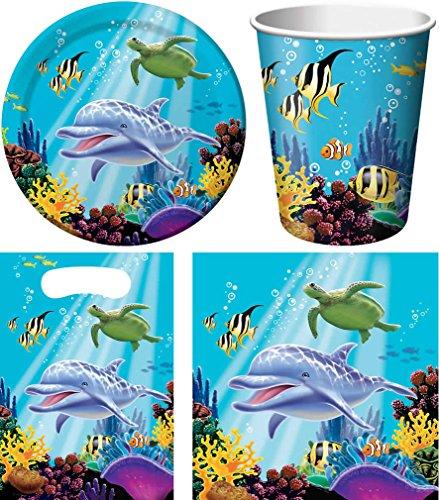 40-teiliges Party Set Meer Delfin Ocean Kindergeburtstag Geburtstag Party Fete Feier 8 Teller, 8 Becher, 16 Servietten, 8 Partytüten