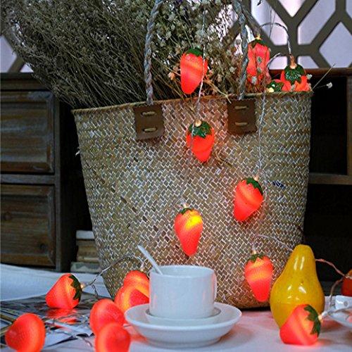 DOLDOA Erdbeere Batterie-Kasten Lichterkette für Haus, Hochzeit, Weihnachten, Erntedankfest (10er – Länge:1.5M, Licht Farbe:Gelb)