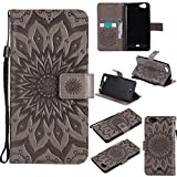 COZY HUT For Wiko Slide Case [Gray], PU Leather Sunflower