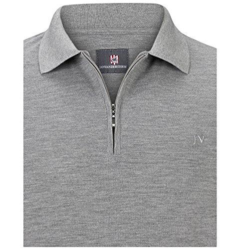 Jan Vanderstorm Herren Poloshirt Ilmari in Übergröße Große Größen Plus Size  Big Size XL XXL XXXL 4XL 5XL 6XL 7XL 8XL 9XL 10XL Grau