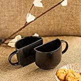 ExclusiveLane Unique Half Ceramic Cups Set In Black - Tea Coffee Cups, Coffee Mugs & Saucers, Tableware Dinnerware & Serving Pieces Tea Cups Set Of 2 Tea Cups And Mugs Ceramic Designer Cups Mugs Set