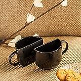 ExclusiveLane Unique Half Ceramic Cups Set In Black - Tea Coffee Cups, Coffee Mugs & Saucers, TablewareDinnerware & Serving Pieces Tea Cups Set Of 2 Tea Cups And Mugs Ceramic Designer Cups Mugs Set