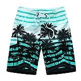 Rera Herren Sommer Große Größen Bermuda mit Verschieden Beach Motiv Drucken Schnelltrocknend Strand Shorts Gummizug Kurze Hose Badehose