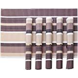 Tied Ribbons PVC Dining Table Kitchen Placemats, 45 X 30 Cm, 6 Pieces, 1 Set(Brown Sea Shore)