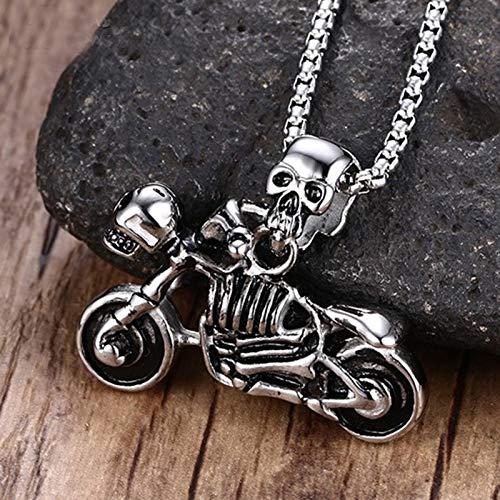Men Es Jewelry Vintage Punk Skeleton Halskette Gothic Biker Skull Motorrad Edelstahl Pendant Halskette Halloween-geschenk