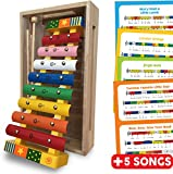 Xylophone Glockenspiel Percussion Musical Instrument for Toddlers with Music Sheets, 8 Multi-Coloured Metal Keys, Wooden Frame, Wooden Storage Box, 2 Beaters and Colour/Note Coded Song Sheets