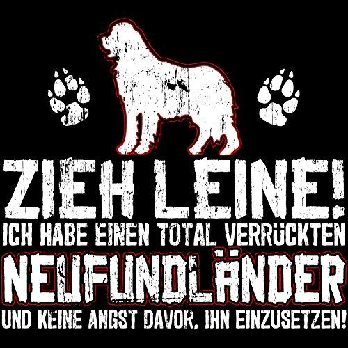 Fashionalarm Herren T-Shirt - Zieh Leine - verrückter Neufundländer | Fun Shirt Spruch lustige Geschenk Idee Herrchen Hunde Besitzer Rasse Hund Schwarz