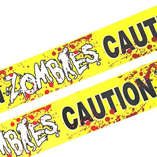 6 Meter Absperrband ZOMBIE mit Blutspritzern Horror Halloween Gruselparty