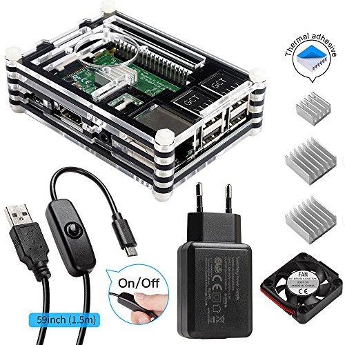 Für Raspberry Pi 3 Gehäuse mit Netzteil + Lüfter + 3x Aluminium Kühlkörper + Mikro-USB-Kabel mit EIN / AUS Schalter Kompatibel mit Raspberry Pi 3 Case für Pi 3 Model b 2 b (Raspberry Pi Board nicht enthalten)