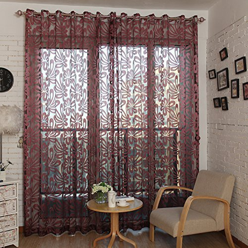 Top Finel Window Treatments Voile Net Curtain Panel Geometric Pattern  54 Inch Width X 84 Inch Length ,Grommets,Burgundy, Single Panel