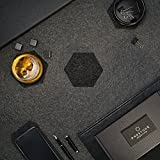 Premium Glasuntersetzer   Filzuntersetzer 9er Set – 8 Untersetzer für Gläser + 1 Tischuntersetzer für Smartphone   Aus European Filz für Tisch, Tassen, Glass   Exklusive Box (Hexagon, Dunkelgrau) - 6