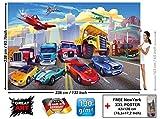 GREAT ART Fototapete - Autorennen - für Kinderzimmer Wandbild Dekoration Flugzeug Cars Abenteuer Feuerwehr Sportwagen Auto Cabrio Comic Foto-Tapete Wandtapete Fotoposter Wanddeko (336 x 238 cm)