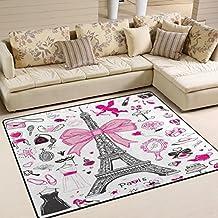Domoko Dessin animé Paris Tour Eiffel Mode élégant Monochrome Zone Tapis  Tapis Tapis pour Le Salon 1d016374b705