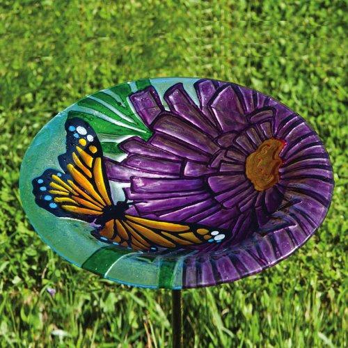 Monarch floreale, Glass Stake Birdbath