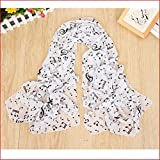 Westeng Silk Scarf Women?s Beach Ultra-thin Shawl Wrap Sunscreen Music Character Printing Decoration Chiffon Scarf