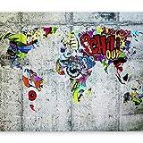 murando - Fototapete 400x280 cm - Vlies Tapete - Moderne Wanddeko - Design Tapete - Wandtapete - Wand Dekoration - Weltkarte Graffiti k-A-0030-a-b