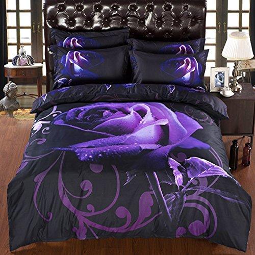 Baumwolle Queen-size Bettbezug (Alicemall Bettwäsche Set 6tlg aus Baumwolle Bettbezug 230x260cm 3D Schwarz Purple Rose mit Bettlaken 4 Kopfkissenbezüge Fadenzahl 400)