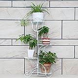 JMSIA lumentreppe 4 Ebenen, Metall, Blumenständer für Innen, Mehrstöckig, HBT: 90 x 21 x 40 cm (Weiß)