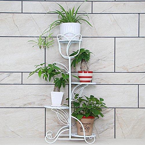 lumentreppe 4 Ebenen, Metall, Blumenständer für Innen, Mehrstöckig, HBT: 90 x 21 x 40 cm (Weiß)