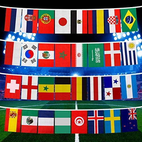 Romote 2018 String Flag, Gruppenspiel 32 Teams Länder Fußball Dekoration Banner für Party Bar Club Celebration