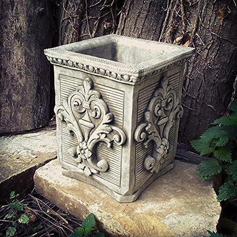 Outdoor Garden Grey Stone Vintage style Fleur De Lys Square Rectangle Pot planter