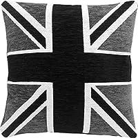 Spessa pesante ciniglia nero bianco argento Union Jack 45,7cm cuscino Pillow case Sham