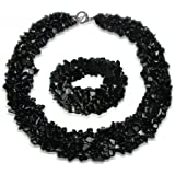 Bling Jewelry Colore Gemstone Chips Cluster Multi Strand Dichiarazione Bib Collar Estratto Bracciale Bracciale Gioielli Set p