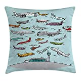 hat pillow Airplane Decor Case Planes Fying in Air Aviation Love Airport Helicopters and Jets Cartoon 18 X 18 inches