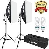 """Softbox Eclairage,1600W 20""""X28""""/50X70cm Softbox Eclairage Vidéo Softbox Kit avec 2M Support de lumière, 2X E27 85W Lamp,Sac de Transportpour Portrait, Produits Commerciaux et Vidéo"""