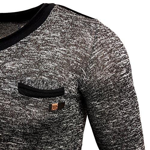 Kickdown Herrenshirt Longsleeve Langarmshirt Sweatshirt Pullover Kapuze KD-2832 Schwarz
