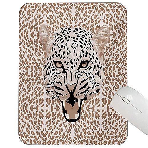 Afrikanischer Kakao (Moderne Mausunterlage Brüllenleopard-Porträt mit Rosetten-wildem afrikanischem Tier-großer Katzen-Grafikspiel-Mausunterlage Kakao-beige Schwarzes herein,Gummimatte 11,8