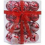 Set de 24 bolas Sea Team para árbol de Navidad, delicadas , pintadas y con purpurina, inastillables. Adornos decorativos de 60 mm
