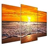 Bilderdepot24 Kunstdruck - Strand Sonnenuntergang I - Bild auf Leinwand - 100x60 cm 3 teilig - Leinwandbilder - Bilder als Leinwanddruck - Wandbild