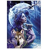 broadroot 5D Frau mit Wolf Diamant Gemälde Stickerei DIY Kreuzstich Home Decor
