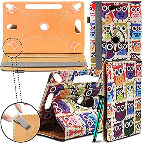 New Design Universal Leather 360 degree Rotating Stand Case Cover For Acer Iconia A1-830 Tablet PC - Multi Coloured Owls ( Designer Folio Android Colourful Luxury Protective 7