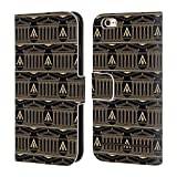 Head Case Designs Offizielle Assassin's Creed Schwarz Und Gold Kolonne Odyssee Muster Brieftasche Handyhülle aus Leder für iPhone 6 / iPhone 6s