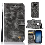 Samsung Galaxy A6 Hülle Leder silikon 2018, Nnopbeclik Flip Case Folio Cover Retro Brieftasche Handyhülle [Magnet] Schutzhülle Samsung Galaxy A6 2018 Case -grau