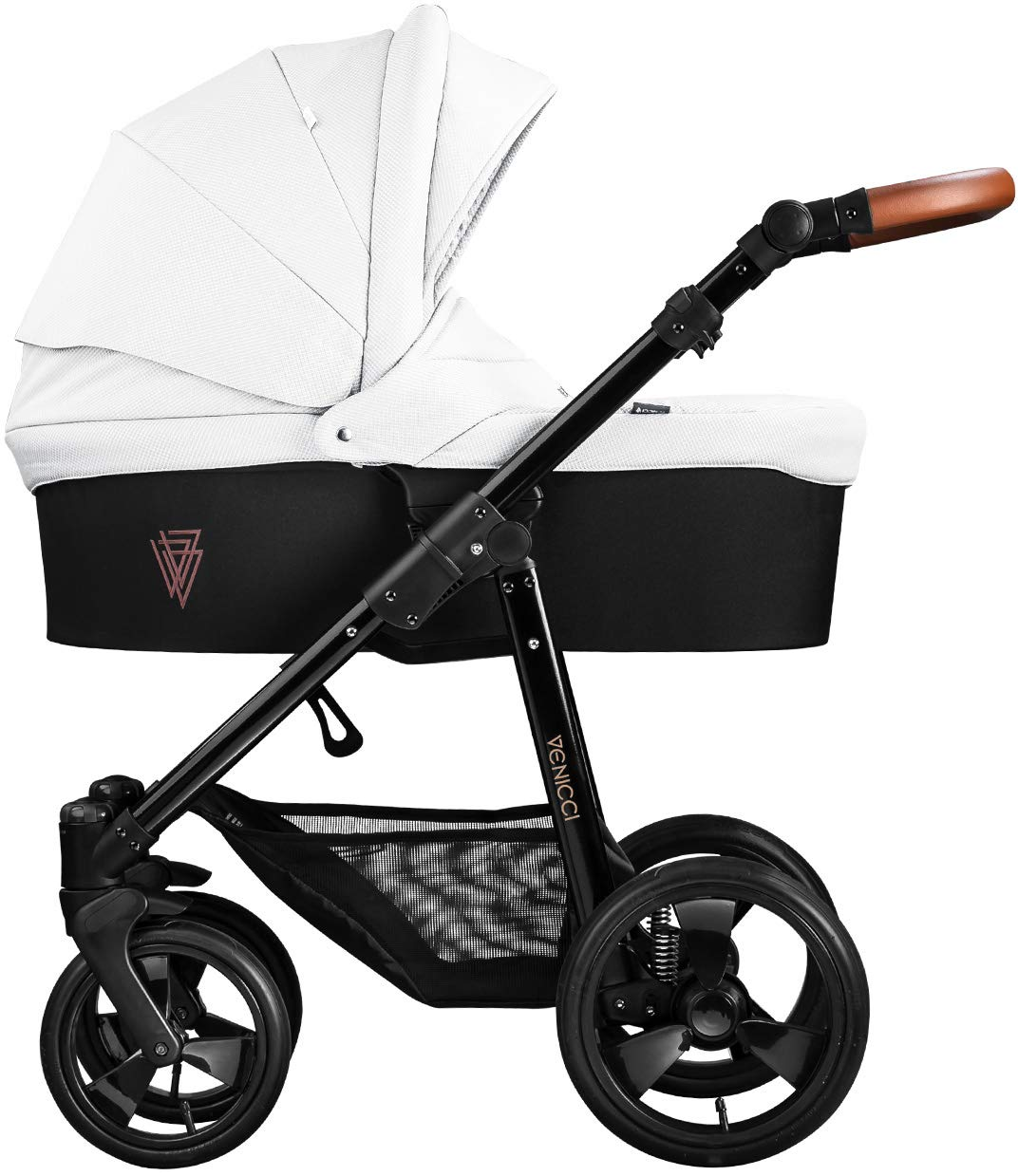 Venicci Gusto 2-in-1 - Ecru Travel System Venicci Also includes: Changing bag, Apron, Rain cover, Mosquito Net, Cup holder Carrycot: L 102cm W 61cm H 112 cm Age suitability: From birth to 6 months Seat unit: L 95cm W 61cm H 112cm Age suitability: From 7 to 36 months 1