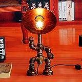 Crayom Industrielle Steampunk Tischlampe Maschine Alter Wasserpfeife Lampe Für Wohnkultur Schlafzimmer Wohnzimmer Hotel Kaffeehaus Dimmbare handgemachte Tisch Licht studieren Eisen Lampenschirm Schrei