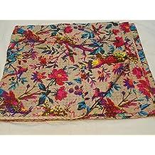 Tribal Asian Textiles hecho a mano pájaro Impresión Tamaño King Kantha Edredón, manta Kantha,