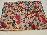 Asie Textiles fait à la main Motif imprimé oiseaux Kantha Couvre-lit King Size,...