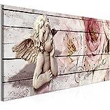 murando - Bilder Engel 120x40 cm Vlies Leinwandbild 1 TLG Kunstdruck modern Wandbilder XXL Wanddekoration Design Wand Bild - Holz Optik Blumen h-C-0060-b-a