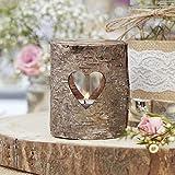 Teelicht-Halter/Teelicht-Glas/Windlicht rustikal mit Holz - Hochzeits-Deko/Tisch-Dekoration Vintage Hochzeit Geburtstag Kerzen Teelichter Kerzen-Ständer (5 Windlichter)