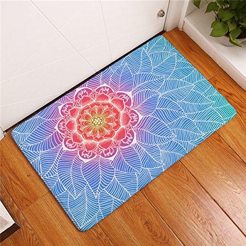 Dauerhafte kommerzielle Türmatten Flanell Rainbow Color Mandala Lotus florale Teppiche Anti-Slip 40 * 60 cm Schlafzimmer Bett Foot Pads 15 50 X 80 cm
