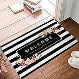 Libaoge Fußmatte/Fußmatte für den Innen- und Außenbereich, Weiß/Schwarz gestreift, Textil, Color 10, 16x24